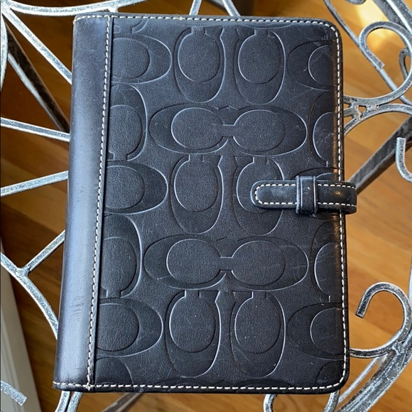 Coach black leather photo case